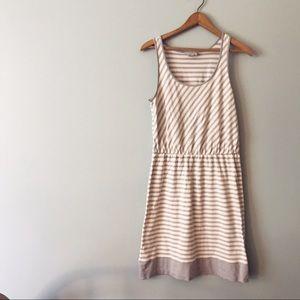 LOFT Striped Tank Dress gray white elastic waist